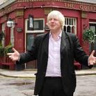 Boris Johnson in front of the Queen Vic inAlbert Square in 2009, when he made a cameo appearance on EastEnders