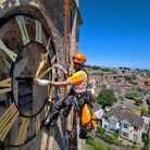 Abseilers installing the church tower clocks in Portishead this month.