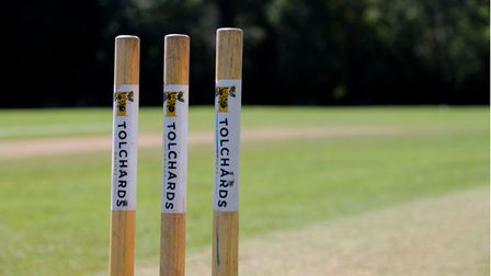 General View of the stumps during the Devon Cricket League Match between Plympton CC and Barton CC