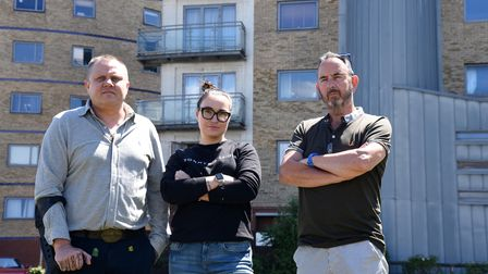 Igor and Jelena with Pete Shelcot. Cladding Crisis in Ipswich, Wherstead Road Picture: CHARLOTTE BO