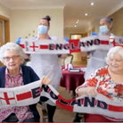 Care home residents at Huntingdon's Hunters Down cheer on England in 'Three Lions' video.