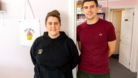 Ellese and Tyler Harrison at Ellese Bakes, a cake shop in Caister.