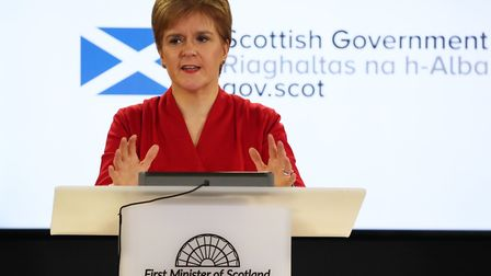 Scotland's first minister Nicola Sturgeon speaks during a coronavirus update briefing. (Photo by And