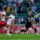 Stuart Hogg of Exeter Chiefs goes over for a try during the Gallagher Premiership Cup Final between