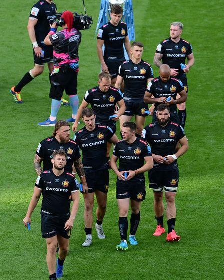 Dejection for Exeter Chiefs players after the Gallagher Premiership Cup Final between Exeter Chiefs