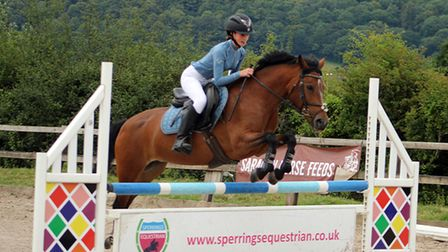 Show jumping demonstrations at the Sperrings Equestrian Country Fair.