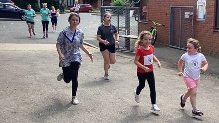 Pupils at Offord Primary School took part in a marathon event to raise money for playground equipment.
