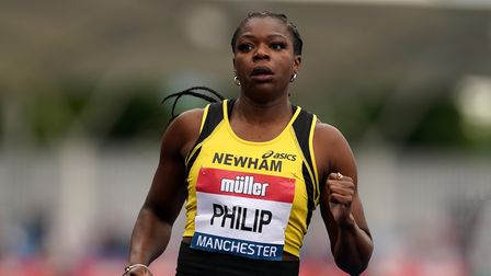 Asha Philip during the women's 100m heats during day one of the Muller British Athletics Championshi