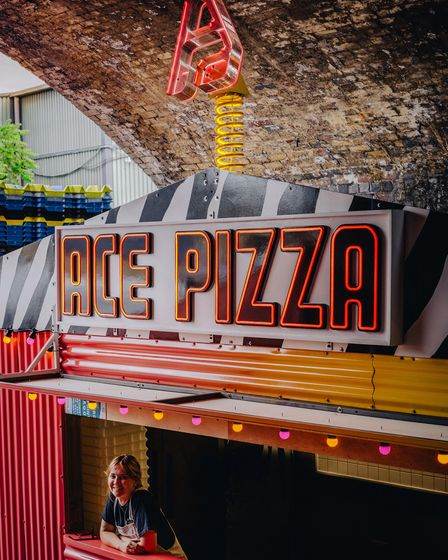 ACE Pizza have created a technicolour pizza shack within the arch
