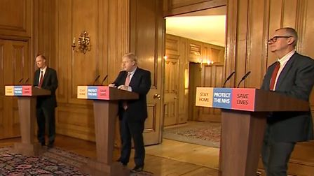 Chief Medical Officer Chris Whitty, Prime Minister Boris Johnson and Chief Scientific Adviser Sir Pa