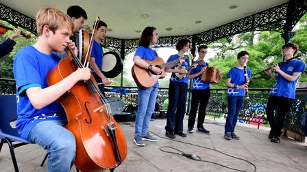 London Youth Folk Ensemble from Cecil Sharp House play on the bandstand