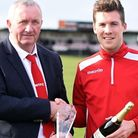 Jon Fairweather with Wisbech Town chairman Paul Brenchley