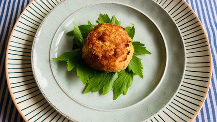 Hot smoked salmon fishcake filled with a Cheddar, chive and cider sauce