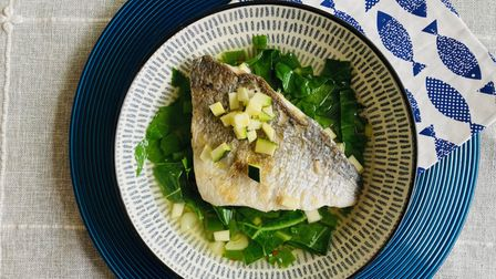 Pan-fried sea bream in an Asian broth