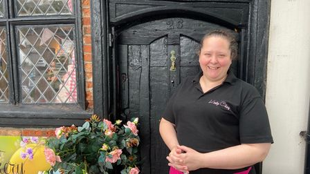Kirsty Fielder in front of Kirsty's Cakery.