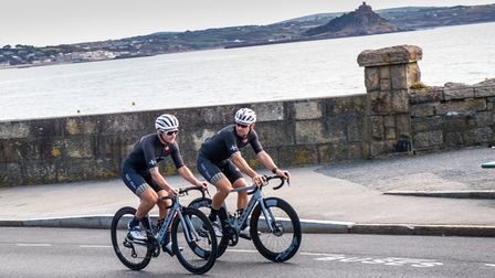 Cornish cyclists Steve Lampier and Chris Opie from Saint Piran Pro Cycling practice