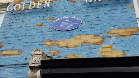 The Blue Plaque honouring Dawn Butler MP at the site of her father's bakery where she grew up in Waltham Forest
