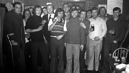 Can you name someone you know in this picture from the Flying Horse Pub in 1974? Picture: DAVID KIND