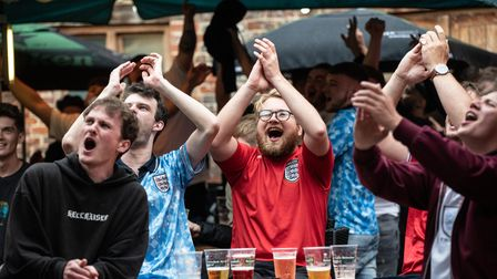 Crowds go wild as England wins their match against Germany with a 2:0 victory . Picture: Sarah Lucy