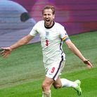 England's Harry Kane celebrates scoring their side's second goal of the game during the UEFA Euro 20
