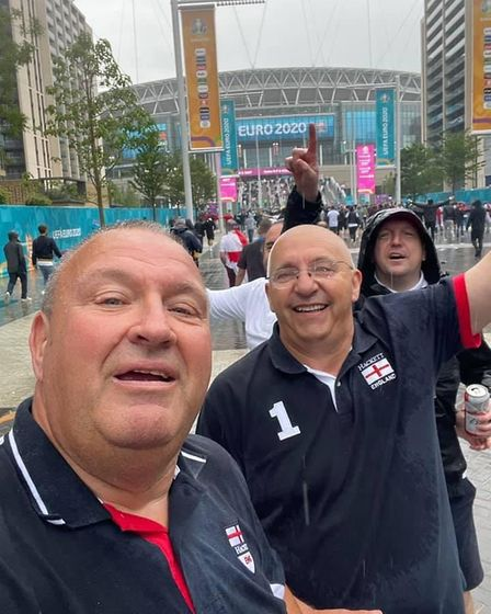 Geoff Maddison, right, outside Wembley stadium after England defeated Germany