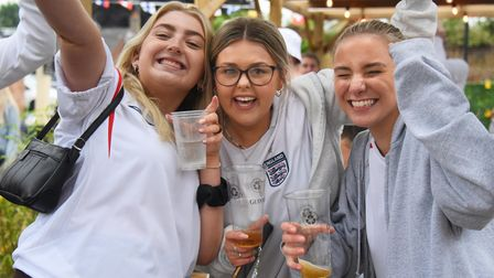 England fans celebrate the goals against Germany in the Euros, at the Beccles Upgate. Picture: DENIS