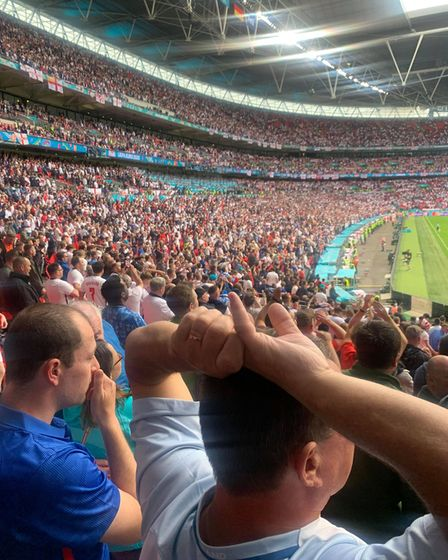 Fans react at the England versus Germany match at Euro 2020 on June 29.