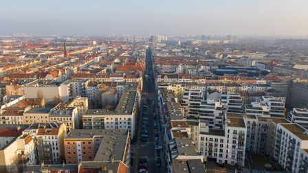 TheFriedrichshain district of Berlinas seen from above, during the city's recent lockdown