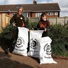 Katy Lancaster, chair of PFO, and Meg Somers, committee member, after a litter pick