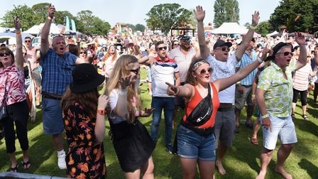 Enjoying the music at the Nearly Festival of tribute bands at Oulton Broad in 2019.