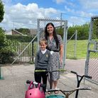 Assistant headteacher Gemma Hurren and Oliver Grant who won the pod.