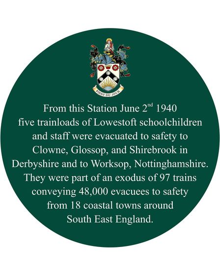 The evacuees sign at Lowestoft Railway Station.