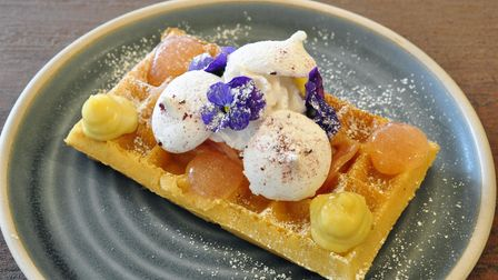 The Waffle House poached rhubarb with crème patisserie, rhubarb gel and meringue kisses