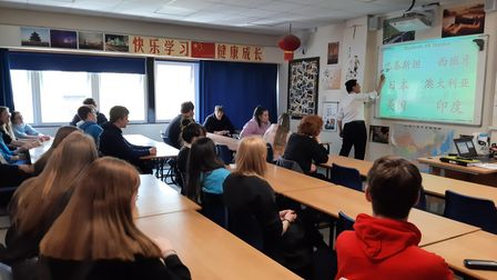 Year 11 students at Melbourn Village College celebrated five years of learning Mandarin with head of languages Frank Fan