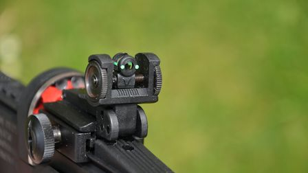 This shows the adjustable peepsight