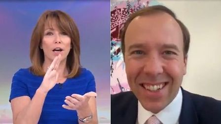 Sky News' Kay Burley (L) and health minister Matt Hancock during a live interview on the news channe