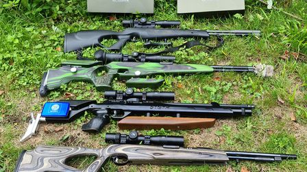 A plethora of rifles all fitted with the CP