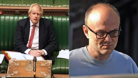 Prime minister Boris Johnson in the Commons and his senior aide, Dominic Cummings (R); PA images
