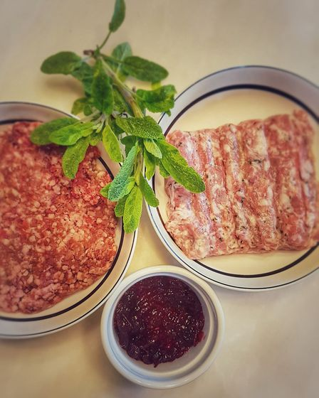 A sausage meat, venison and sage combo. Just add a little cranberry for some classic comfort food