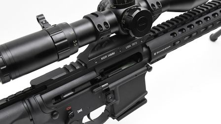 The primary mag release is on the right side of the rifle