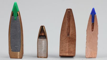 L to R:- Typical lead cored Ballistic Tip for comparison, 22 Varmint Grenade with sintered core, old
