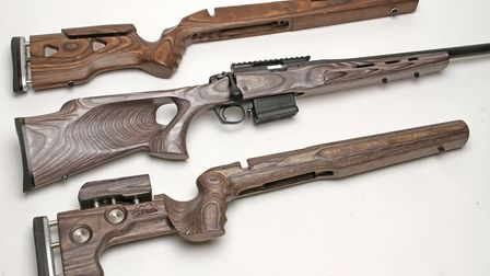 Plenty of stock choices with Rem700 inlet profiles but I wanted a laminate and the Boyd`s thumbhole