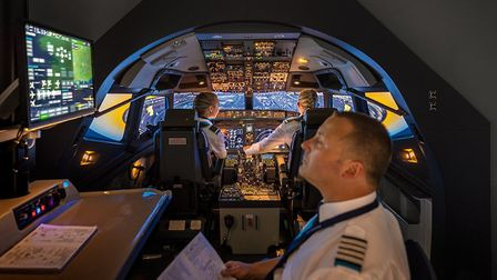 Most professional pilot courses culminate in multi-crew jet simulator sessions, as seen here in a Sk