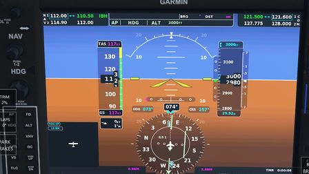 The glass cockpit of the C172 is very realistic, with a fully functioning Garmin display activated t