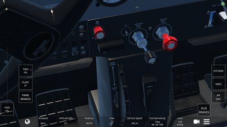 The level of detail of the inside of the cockpit is high, as can be seen in this view of the throttl