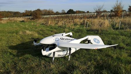 Carrying a 3kg payload, Skyports' 17kg drone cruises at 60kt and has a 68-minute endurance Photo: S