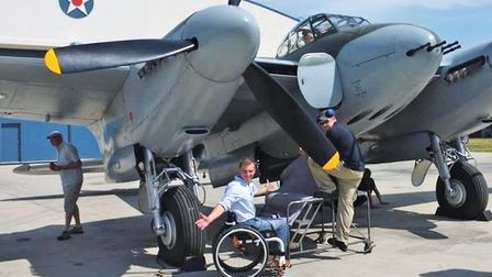 Arthur with the Mosquito he flew in for C4's 'The Plane that Saved Britain'