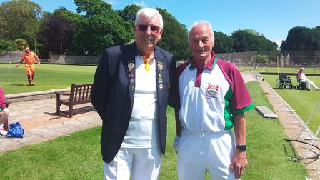 Sidmouth President Peter Mison with Hertfordshire County President Terry Barker