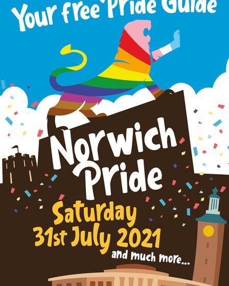 The cover of the Norwich Pride Guide for 2021 celebrations.