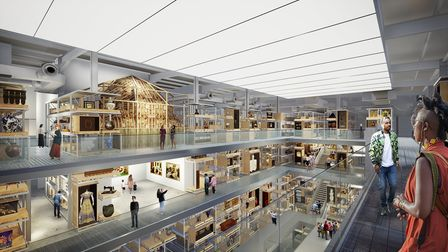 A rendered view inside the V&A East Storehouse.